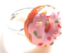 GORGEOUS HANDMADE PINK DONUTS  RING + FREE GIFT BAG