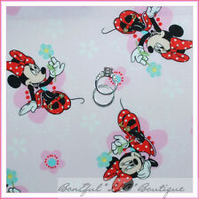 BonEful Fabric Cotton Quilt VTG Pink White Disney Minnie Mouse Flower Girl SCRAP