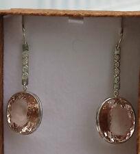Mint  Estate Flawless Huge 48.24 carat Natural Morganite Platinum drop earrings