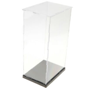 1 Set 14x19x34cm Transparent Display Show Case With Black Base For Figures Model