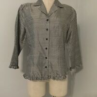 Women's Size Medium Black White Gingham Check Blouse Button Long Sleeve