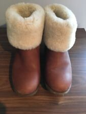 Genuine Ugg Australia Ankle Boot With Fur Cuff Leather W Chyler Boot Size 4