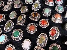 Wholesale Mixed 5Ps Natural Mixed Gemstone Tibetan Tribe Silver P Ring FREE