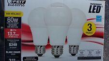 FEIT LED 3 PACK  LED 60W - 9.5 W Warm White  A19 800 lumens 15.000.00 HOURS NIB!