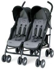 200$+Compact Echo Twin Double Padded Seats Comfort Stroller Practical-Coal black