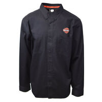 Harley-Davidson Men's Black Logo Patch L/S Woven Shirt (S02)