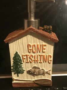 New SOAP~LOTION DISPENSER~tan brown GONE FISHING  Cabin Lodge wood look Fish