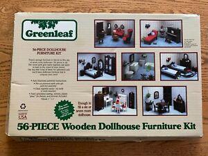 Vintage Greenleaf 56 Piece Wooden Dollhouse Furniture Kit 1982 Made In USA  9010
