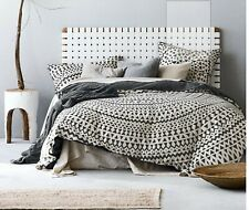 NEW Leather Bedhead  - Queen - Woven Leather  - White - bed end