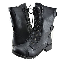 Women's Shoes Soda Dome Lace Up Combat Boot Black *New*