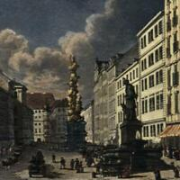 Wien Graben strasse Vienna Trench c.1830's gorgeous miniature view hand color