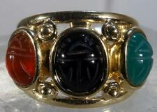 Scarab Ring 14 K Gold With Jade & Black Onyx Red Carnelian Size 6