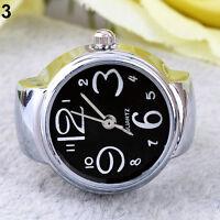 Moda Niños Fascinante Dedo Anillo Reloj Redondo Exclusiva Acero Cuarzo Elástico