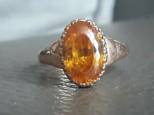 14ct gold & citrine ring 3.85 carat stone  russian Hallmarked size L