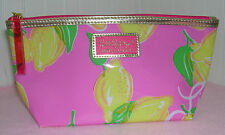 New Lilly Pulitzer Estee Lauder Yellow Lemon with Gold Trim Cosmetic MakeUp Bag