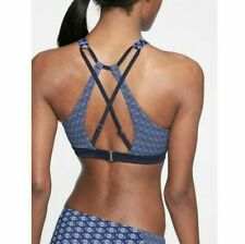 Athleta Blue Tangier High Neck Bikini & Kata Short Bottoms Swim Set 36B/C M NEW