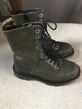 Doc Martens Justyna Khaki Leather 10hole Excellent Condition Uk3/36 Boots Unisex