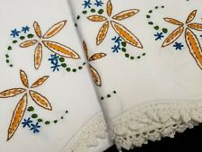 Vintage Pillowcases Hand Embroidered Crocheted Yellow Flowers Floral 40s Estate