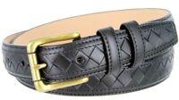 BL029 Solid Brass Roller Buckle Diamond Pattern Genuine Leather Belt