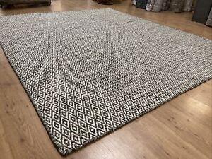 Handmade Flat Weave Wool Rug 8x10 Gray White