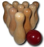 Shuffleboard Table Bowling Pins 10 Wooden with 1 Red Wood Ball Kids & Adult Game