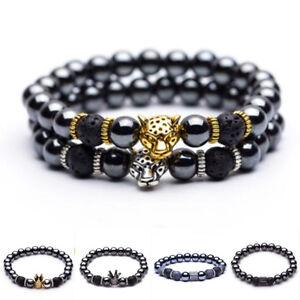 Hematite Stone Bead Golden Silver Panther Crown Pendant Bangles Bracelets Gift