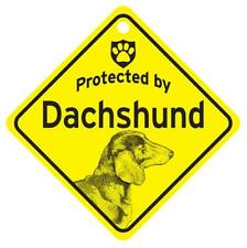Protected by Dachshund Dog Window Sign Made in Usa
