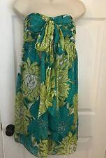 LN Ann Taylor Sz 2 88% Silk Aqua Green Floral Strapless Party Evening Dress