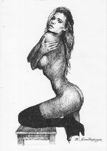 original drawing А4 14BV art by samovar ink female nude Signed 2020