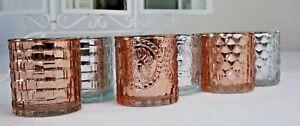 Windlicht Teelichthalter Rosé Gold Silber 7cm Hochzeit/ Geburtstag Dekoration