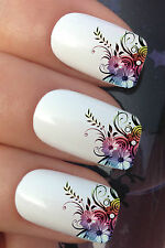 NAIL ART SET #608 x12 FLOWER LEAF FRENCH TIPS WATER TRANSFER DECALS STICKERS