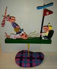 """1990 Whimsical Kinetic Carved Painted Wood Sculpture Folk Art """"GOLF SPECIALIST"""""""