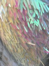Iridescent White Sword Shape Sequin On White Mesh Fabric Sold By  Yard