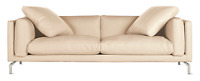 "Como Sofa 92"" Gesso Leather Design Within Reach DWR Midcentury Modern"