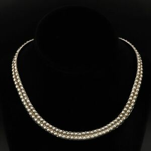 """VTG Sterling Silver - HEAVY MEXICO Beaded Pebbled Collar 15"""" Necklace - 49g"""