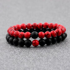 Couple His & Hers Distance Healing Bracelet Black Red Lava Bead Matching YinYang