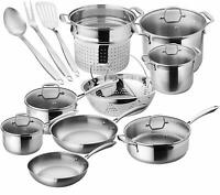 Stainless steel 17 piece kitchen room pots&pans set professional cookware set