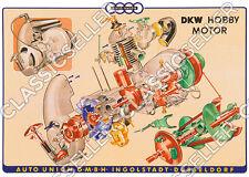 DKW HOBBY SCOOTER poster manifesto disegno di esplosione MOTO SCUDO DA TAVOLA