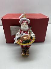 Polonaise Chef Santa Claus Turkey Platter Glass Ornament Poland Box Tag