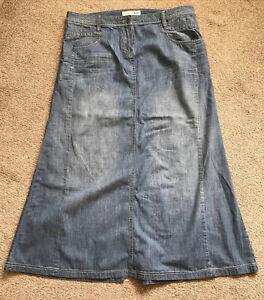 Fat Face - Long Blue Denim Maxi Skirt - Size 16 - VGC