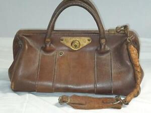 Vintage Doctors Gladstone Bag Stamped ER - No Key - With Strap
