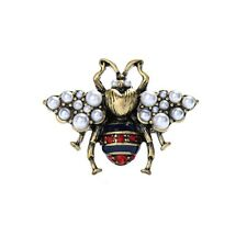 Vintage Style Gold Tone Ruby Red Bumble Bee Charm Ring with Pearls NIB Size 7