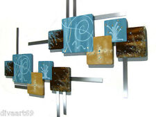 Turquoise & Brown Abstract Squares Wood w/ Metal wall hangings, sculpture, decor