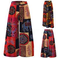 Mode Femme Loisir Oversize Imprimé floral Taille elastique Jambe Large Pantalons