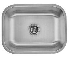 """Stainless Steel Undermount Single Bowl Kitchen Sink 16 Gauge 23"""" x 18"""""""