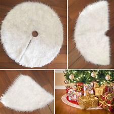 80cm Pure Cotton White Snowflake Christmas Tree Skirt Base Cover Xmas Gift Decor