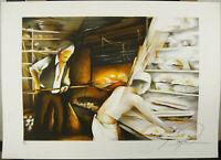 Raymond Poulet The Baker the Bakery Baker 1980 Print Signed Num 239/250