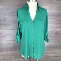 Express Women's Size Small The Portofino Shirt Top Button Down Green Roll Sleeve