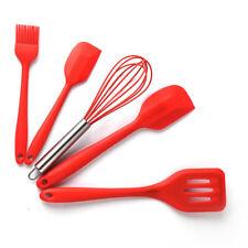 5Pcs Silicone Kitchen Utensils Set Spatulas Coating Baking Whisk Colander Brush