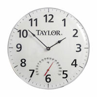 Taylor  18 inch Dial  Clock/Thermometer  Metal  White